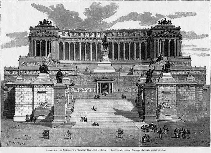 Fig. 10.  Project for the Monument to Vittorio Emanuele II, second competition, 1883, by Giuseppe Sacconi. L'Illustrazione Italiana, Feb. 24, 1884: 125.