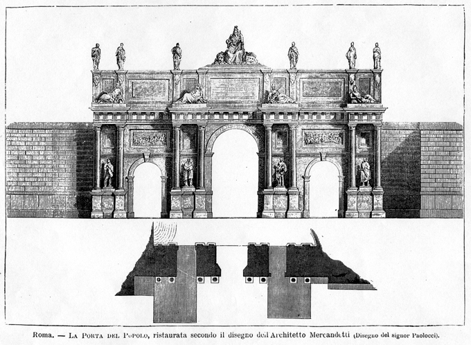 Fig. 2. Porta del Popolo, restored according to the design of architect Mercandetti. L'Illustrazione Italiana, Jan. 6, 1878: 5.