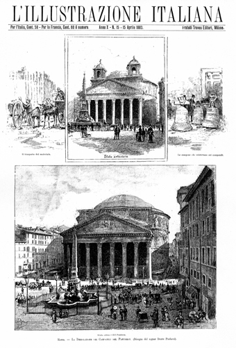 Fig. 6. Before and after views of the demolition of the Baroque bell towers on the Pantheon, April 1883. L'Illustrazione Italiana, Apr. 15, 1883: 233.