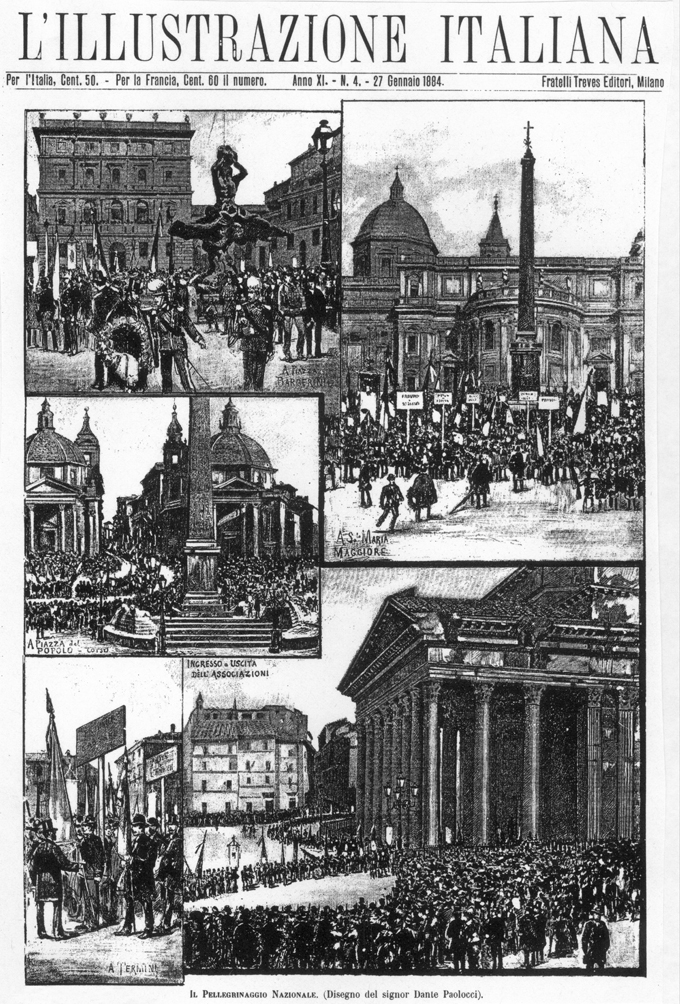 Fig. 7. Views of the National Pilgrimage to the Tomb of Vittorio Emanuele II, Jan. 9, 1884, seen clockwise from upper left in the Piazza Barberini, behind S. Maria Maggiore, at the Pantheon, at Termini train station and in the Piazza del Popolo. L'Illustrazione Italiana, Jan. 27, 1884: 53.