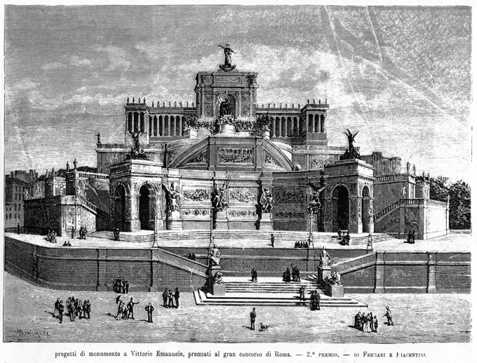 Fig. 8. Project for the Monument to Vittorio Emanuele II, first competition, 1882, by Ettore Ferrari and Pio Piacentini. L'Illustrazione Italiana, May 7, 1882: 328.